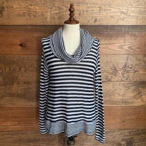 Workshop Black & White Striped Cowl Neck Sweater